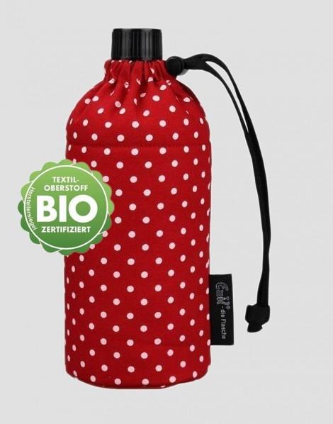 EMIL Ekologiczna butelka czerwona w białe kropki 750 ml szeroka szyjka