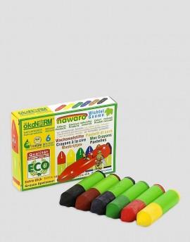 ÖKONORM Ekologiczne kredki woskowe 6 kolorów krótkie