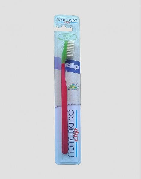 MONTE-BIANCO Ekologiczna szczoteczka do mycia zębów dla dorosłego miękka natura czerwona