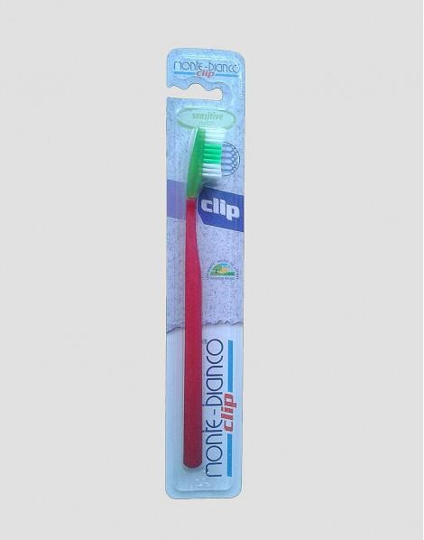 MONTE-BIANCO Ekologiczna szczoteczka do mycia zębów dla dorosłego miękka nylon czerwona