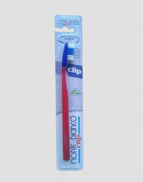 MONTE-BIANCO Ekologiczna szczoteczka do mycia zębów dla dorosłego twarda nylon czerwona